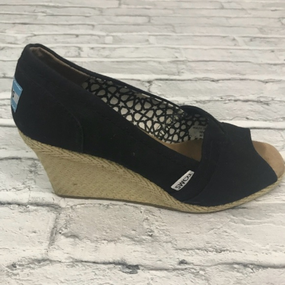 85692f2167b TOMS Shoes - TOMS Black Canvas and Jute Peeptoe Wedges size 7.5